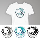Image on t-shirt. Text on t-shirt: Dragon style. Vector illustration dragon for design of t-shirts, mugs, pens and other things stock illustration
