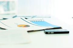 Image of a table full of documents Royalty Free Stock Images