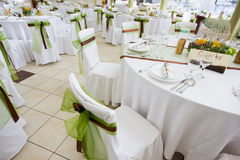 An image of tables setting at a luxury wedding hall Royalty Free Stock Images