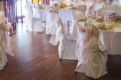 An image of tables setting at a luxury wedding hall Royalty Free Stock Photos