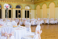 An image of tables setting at a luxury wedding hall Stock Images