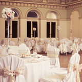 An image of tables setting at a luxury wedding hall Royalty Free Stock Photo