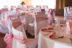An image of tables setting at a luxury wedding hall Stock Photos