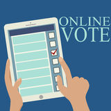 Image of Tablet in Someone's Hands. Opened Web Page of the Elect. Ronic online voting.With simple text Stock Photography