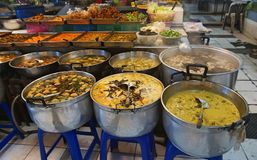 Image of takeaway food shop in fresh market Thailand. Background of ready to eat meal store, Thai cuisine. Variety of asian fast f. Ood meal in fresh market Royalty Free Stock Photos