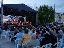 Live opera concert, downtown Pitesti, Romania - May 2018. Image taken at event put up by Pitesti municipality honoring 2018 Citiy`s Days stock photos