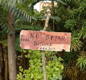 Spanish no littering sign,Lamas castle, san martin, peru. Image taken of funny no littering sign near Lamas castle, san martin, peru. Image states, don´t royalty free stock photos