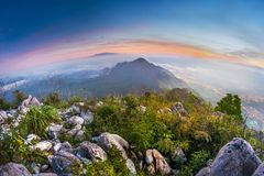 Very beautiful view from Pulai mountain peak, malaysia. Image taken at sunrise Royalty Free Stock Images