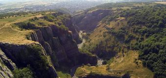 Cheddar gorge. Image taken from my UAV drone of cheddar gorge from the air in Somerset royalty free stock photo
