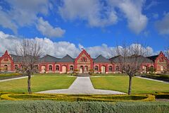 Beautiful winery bluestone building with outdoor landscaping for free wine tasting or tour in Barossa Valley, South Australia