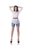 Image of tall brunette posing in casual clothes Royalty Free Stock Photos