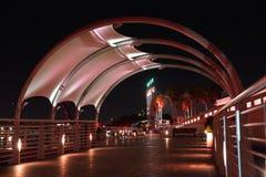 Image Tampa Riverwalk de nuit allumé en rouge Photo libre de droits