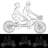 Tandem Bicycle Riders Young Couple. An image of a Tandem Bicycle Riders Young Couple line drawing Stock Illustration