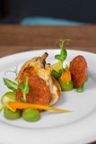 Image of tasty chicken with vegetables in dish in restaurant. Close image of chicken and salami Stock Photos