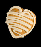 Image of tasty gingerbread in the form of heart on a black background Stock Images