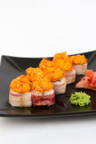 Image of tasty hot sushi set with bacon Royalty Free Stock Photos