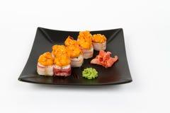 Image of tasty hot sushi set with bacon Royalty Free Stock Image