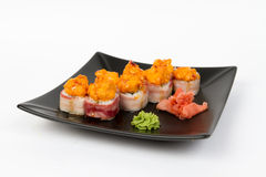 Image of tasty hot sushi set with bacon Stock Image