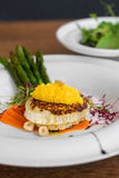 Image of tasty italian food with asparagus served in restaurant Royalty Free Stock Photography