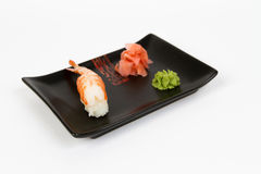 Image of tasty nigiri with shrimp Royalty Free Stock Photography