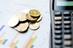 Image of tax, chart, coin, and calculator Royalty Free Stock Photo