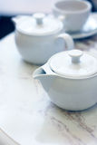 Image of teapots on a table in cafe Royalty Free Stock Photos