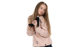 Image of teenage girl with the shoe Stock Photography