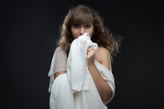 Image of teenage girl in shyness Stock Images