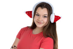 Image of teenage girl with xmas headphones Stock Photos