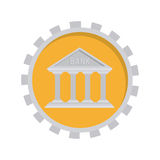 Image with temple in toothed circle. Vector illustration Royalty Free Stock Image