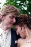 Image tendre de mariée et de marié Photographie stock libre de droits