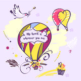 Image with text my heart is wherever you are. Balloon and bird i Royalty Free Stock Photos