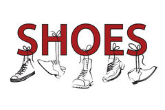 Image with text and shoes Royalty Free Stock Photos