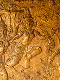 The image of thai fine art on temple door Royalty Free Stock Photography