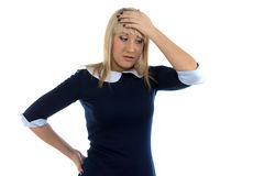 Image of thinking business woman with hand on head Royalty Free Stock Photography