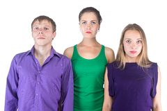 Image of three serious friends Royalty Free Stock Photography