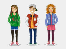 The image of three stylish Teens Royalty Free Stock Image