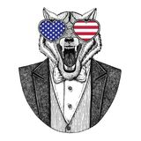 Image tirée par la main animale de Wolf Dog Hipster pour le tatouage Photo stock