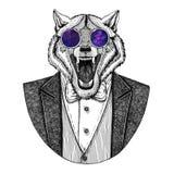 Image tirée par la main animale de Wolf Dog Hipster pour le tatouage, emblème, insigne, logo, correction, T-shirt Photographie stock libre de droits