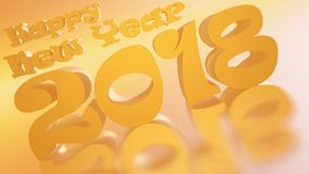 Happy New Year 2018 Golden Honey Inclinated Royalty Free Stock Photo