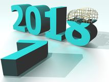 Year 2018 Cyan. Image to congratulate the new year, to use as background image, greeting cards, etc Royalty Free Stock Image