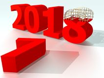 Year 2018 Red 2 Stock Image