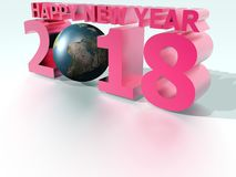 Happy New Year 2018 World Pink Stock Photos