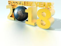 Happy New Year 2018 World Yellow. Image to congratulate the new year, to use as background image, greeting cards, etc royalty free illustration