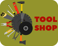 Image tools for construction and repair. tool shop. Ax, saw, building level, hammer, screwdriver, pliers and other Stock Photos