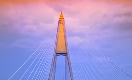 Image of the top of suspension bridge. Pole Royalty Free Stock Photo