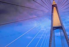 Image of the top of suspension bridge. Pole Stock Image