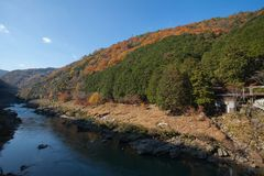 View of Hozu-gawa river from Torokko Hodukyo station in Aras. Image of Top view of Hozu-gawa river from Torokko Hodukyo station in Arashiyama ,Kyoto ,Autumn Royalty Free Stock Image