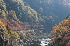 Top view of Hozu-gawa river from Torokko Hodukyo station in Aras. Image of Top view of Hozu-gawa river from Torokko Hodukyo station in Arashiyama ,Kyoto ,Autumn Stock Images