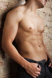 Image of torso. Picture of sexy body near wall Stock Photo